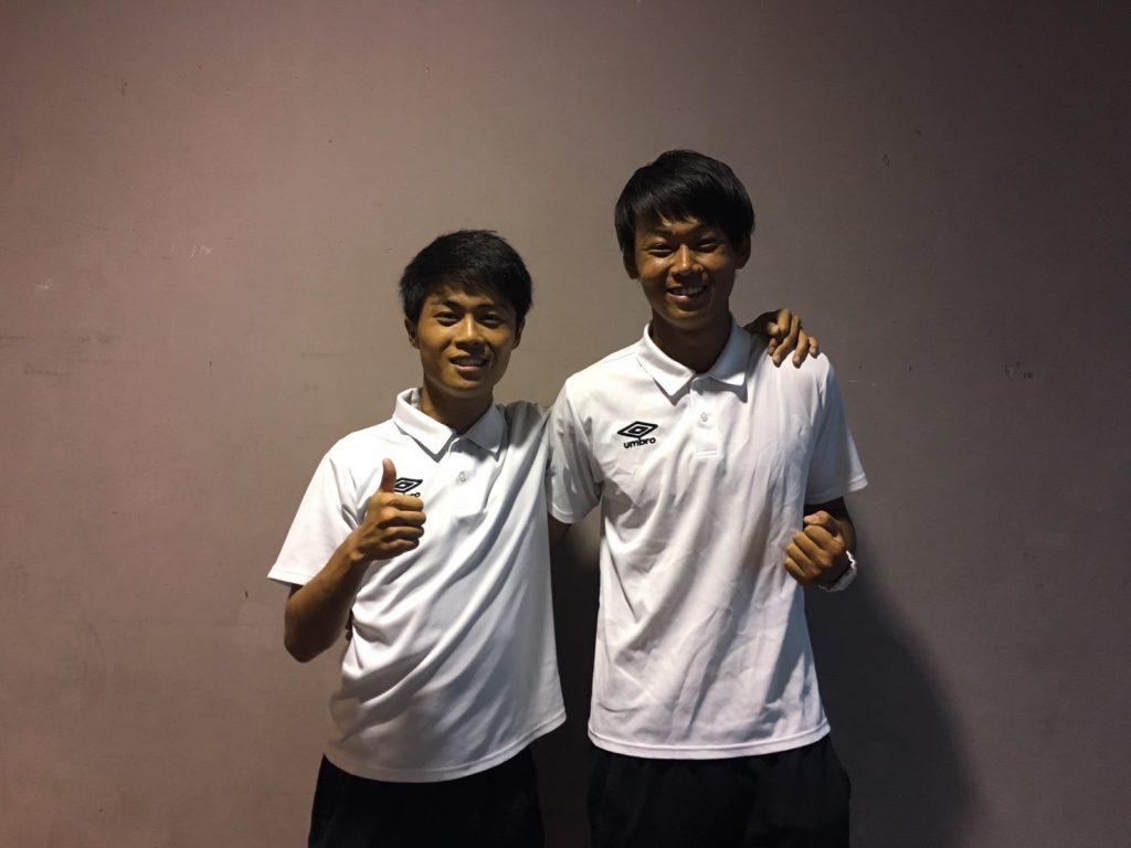 先制点をマークした武田拓真(左)と2ゴールの上田泰雅(右)